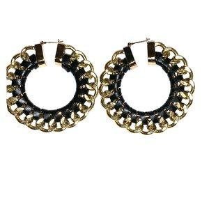 Gold and black chain earrings